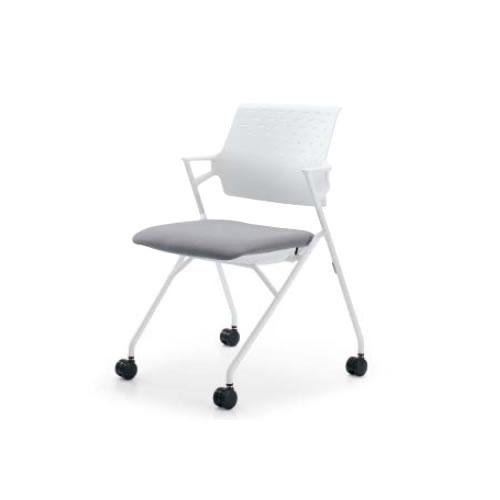 コクヨ 会議椅子 ミーティングチェアー 椅子 ピエガ ホワイトシェル 肘付 背樹脂 ホワイト塗装脚 キャスター脚 CK-720WPAW