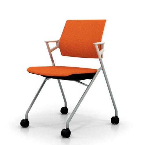 コクヨ 会議椅子 ミーティングチェアー 椅子 ピエガ ホワイトシェル 肘付 背クッション 塗装脚 キャスター脚 CK-722PAW