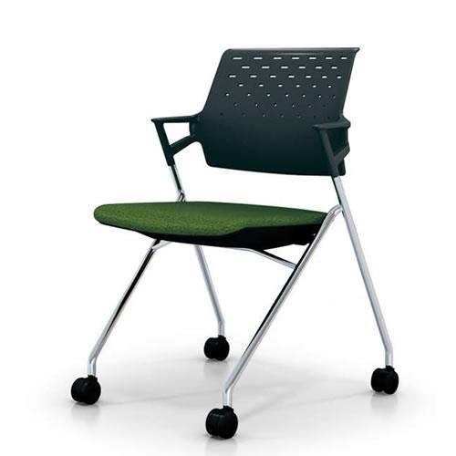 コクヨ 会議椅子 ミーティングチェアー 椅子 ピエガ ブラックシェル 肘付 背樹脂 メッキ脚 キャスター脚 CK-M720E6
