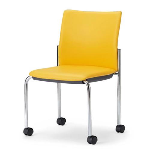 【個人宅配送不可】 アイコ ミーティングチェア 椅子 会議チェア 肘なし キャスター脚 クロームメッキ 角背タイプ MC-892