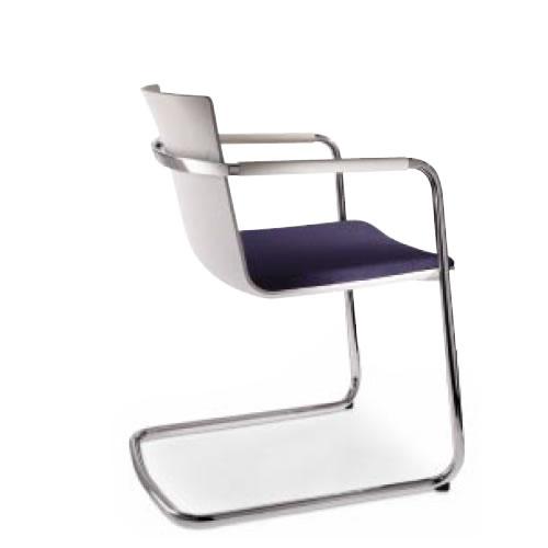 コクヨ 会議椅子 ミーティングチェアー ウィルクハーン Wilkhahn ネオス 肘付き キャンチレバー脚 背クッションなし 背白色樹脂 183/3 XWH-1833WK