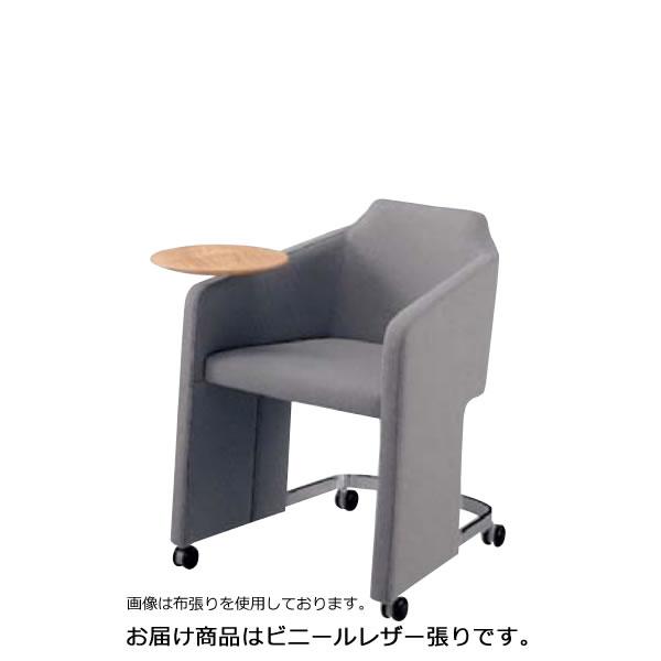 内田洋行ミーティングチェア GM-Eシリーズ パネル脚 キャスター付 テーブル付 コラーゲン入レザー張りGME-500T
