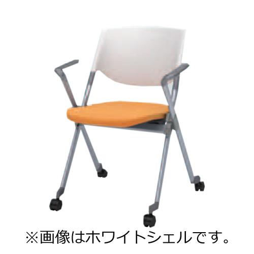 オカムラ ミーティングチェア 椅子 会議チェア リータII 肘付 4本脚キャスター付き ホワイトシェル H141BA