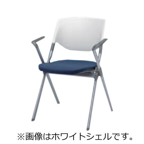 オカムラ ミーティングチェア 椅子 会議チェア リータII 肘付 4本脚 ブラックシェル H141BZ
