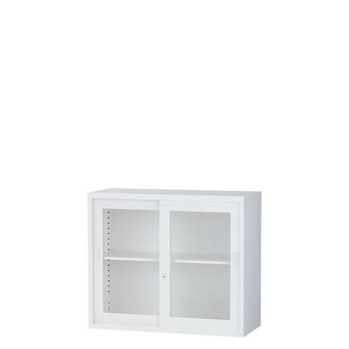 上置ガラス引き違い書庫 A4対応 スチール ホワイト 日本製ALZ-G32
