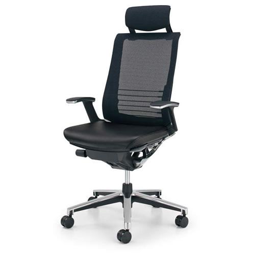 コクヨ インスパイン オフィスチェア デスクチェア ワークチェア パソコンチェア PCチェア 役員 椅子 T型肘 ヘッドレスト付 前傾姿勢 革張り CR-GA2505E6L7E6
