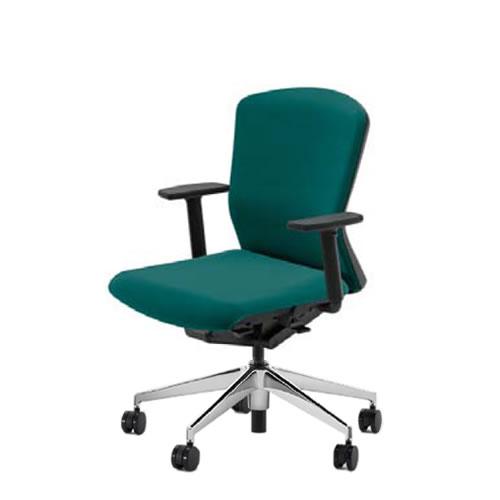 内田洋行 オフィスチェア 事務用チェア 事務椅子 エルフィ チェア ミドルバック クロスタイプ 背樹脂カバー アジャスタブル肘 ポリッシュ脚 ELA2-320P-325P-