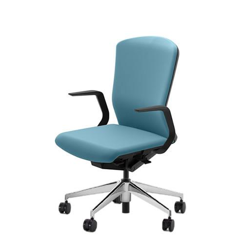 内田洋行 オフィスチェア 事務用チェア 事務椅子 エルフィ チェア ハイバック クロスタイプ 両面クロス L型肘 ポリッシュ脚 ELA2-510C-515C-