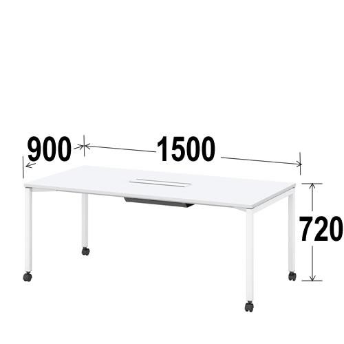 内田洋行 ミーティングテーブル ノティオシリーズnotioスクエア天板 4本脚キャスタータイプ ケーブル口付 幅1500ミリ NTO1590CFCS