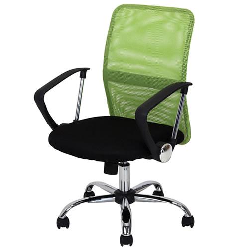 デスクチェア パソコンチェア オフィスチェア 事務椅子 事務用イス 椅子 メッシュバック チェアー HF-78GR グリーン 肘付 FB-90877