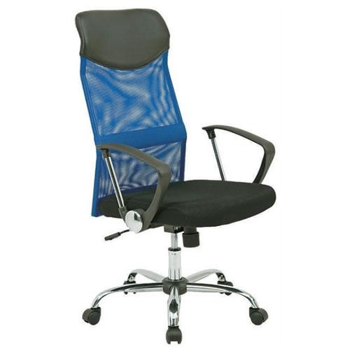 オフィスチェア 事務椅子 椅子 メッシュ ハイバックチェアー HF-98BL ブルー 肘付 FB-90880