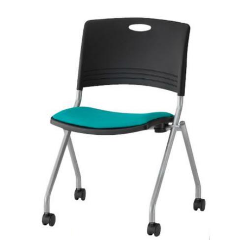 TOKIO ミーティングチェア 椅子 会議用チェア 4本脚キャスター付 肘なし 布張り 4脚セット FNC-K5-SET