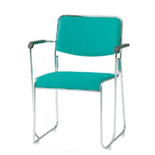 TOKIO 会議椅子 4脚セット ミーティングチェア メッキ脚 肘付 布張り FSC-15MA-SET