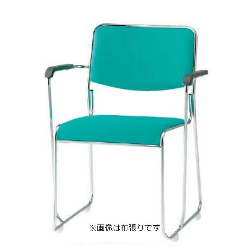 TOKIO 会議椅子 4脚セット ミーティングチェア メッキ脚 肘付 ビニールレザー張り FSC-15MAL-SET