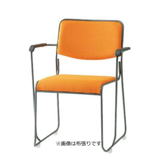 TOKIO 会議椅子 4脚セット ミーティングチェア 塗装脚 肘付 ビニールレザー張り FSC-15TAL-SET