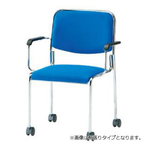 【個人宅配送不可】TOKIO ミーティングチェア 椅子 会議用チェア キャスター脚タイプ 肘付 ビニールレザー張り 4脚セット FSX-K4AL-SET