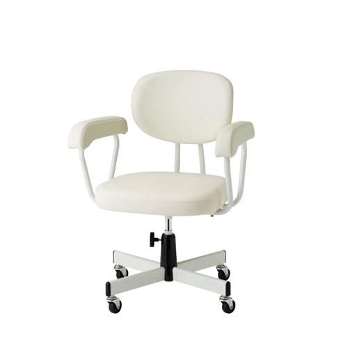 メディカルチェア 患者用チェア キャスター脚 背付 肘付き 手動上下タイプ モールドウレタン座 TW-N230