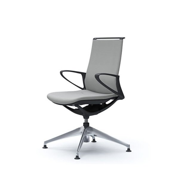 オカムラ モード チェア オフィス 4本脚オートリターンタイプ ミドルバック 樹脂フレーム 本体カラーブラック デザインアーム 布張り プレーンCA25FR-FS