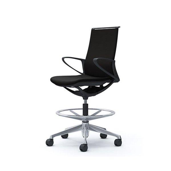 オカムラ モード チェア オフィス ハイチェア ミドルバック 樹脂フレーム 本体カラーブラック デザインアーム 布張り プレーンCA25HR-FS