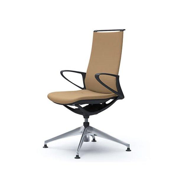 オカムラ モード チェア オフィス 4本脚オートリターンタイプ ハイバック 樹脂フレーム 本体カラーブラック デザインアーム 布張り プレーンCA27FR-FS