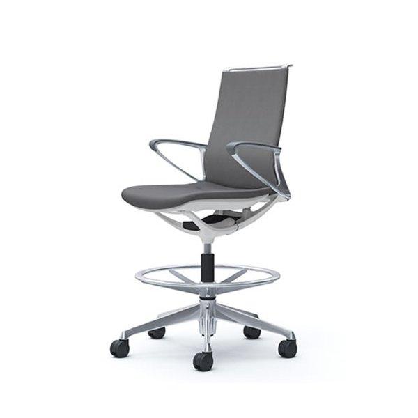 オカムラ モード チェア オフィス ハイチェア ミドルバック アルミフレーム 本体カラーホワイト デザインアーム 布張り ミックスCA85HZ