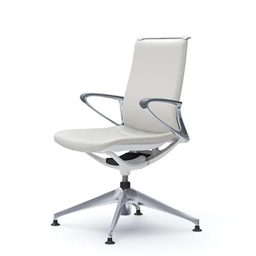 オカムラ モード チェア オフィス 4本脚オートリターンタイプ ミドルバック アルミフレーム 本体カラーホワイト デザインアーム 革張りCA86FZ