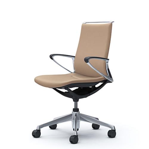 オカムラ モード チェア オフィス 5本脚キャスタータイプ ミドルバック アルミフレーム 本体カラーブラック デザインアーム 革張りCA86ZS