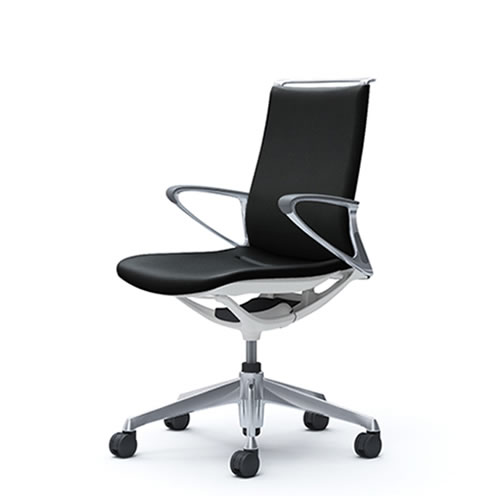 オカムラ モード チェア オフィス 5本脚キャスタータイプ ミドルバック アルミフレーム 本体カラーホワイト デザインアーム 革張りCA86ZZ