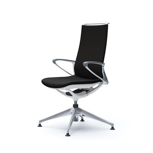オカムラ モード チェア オフィス 4本脚オートリターンタイプ ハイバック アルミフレーム 本体カラーホワイト デザインアーム 布張り プレーンCA87FZ-FS