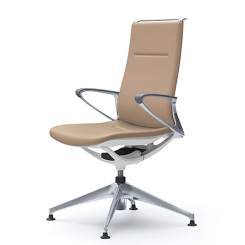 オカムラ モード チェア オフィス 4本脚オートリターンタイプ ハイバック アルミフレーム 本体カラーホワイト デザインアーム 革張りCA88FZ