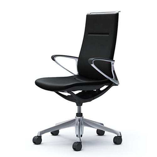 オカムラ モード チェア オフィス 5本脚キャスタータイプ ハイバック アルミフレーム 本体カラーブラック デザインアーム 革張りCA88ZS