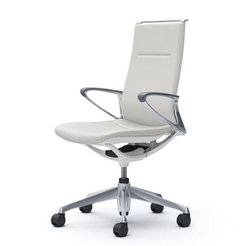 オカムラ モード チェア オフィス 5本脚キャスタータイプ ハイバック アルミフレーム 本体カラーホワイト デザインアーム 革張りCA88ZZ