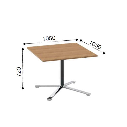 コクヨ VIENAビエナ シリーズ会議 ミーティング テーブル 天板固定単柱脚アジャスタータイプ 正方形天板 ポリッシュ脚 幅1050奥行1050ミリ MT-V1010P-E