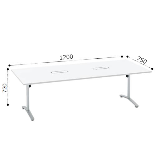 コクヨ VIENAビエナ シリーズ会議 ミーティング テーブル 天板固定T字脚アジャスタータイプ 角形天板 塗装脚 配線ボックス付 幅1200奥行750ミリ MT-V127B-E