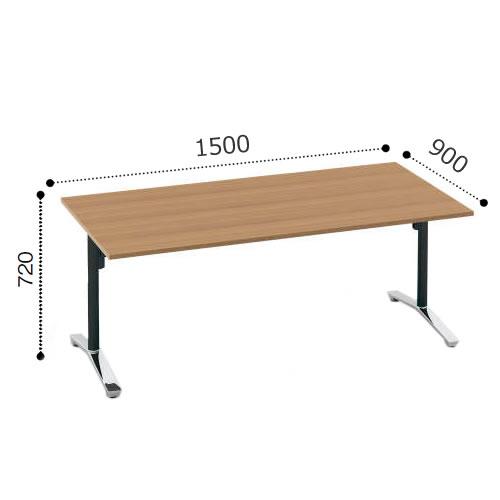 コクヨ VIENAビエナ シリーズ会議 ミーティング テーブル 天板固定T字脚アジャスタータイプ 角形天板 ポリッシュ脚 配線ボックスなし 幅1500奥行900ミリ MT-V159P-E