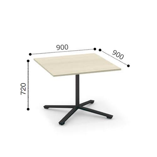 コクヨ VIENAビエナ シリーズ会議 ミーティング テーブル 天板固定単柱脚アジャスタータイプ 正方形天板 塗装脚 幅900奥行900ミリ MT-V99-E