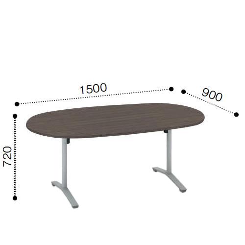 マラソン期間中店内全品ポイント10倍 コクヨ VIENAビエナ シリーズ会議 ミーティング テーブル 天板固定T字脚アジャスタータイプ 楕円形天板 塗装脚 配線ボックスなし 幅1500奥行900ミリ MT-VD159-E