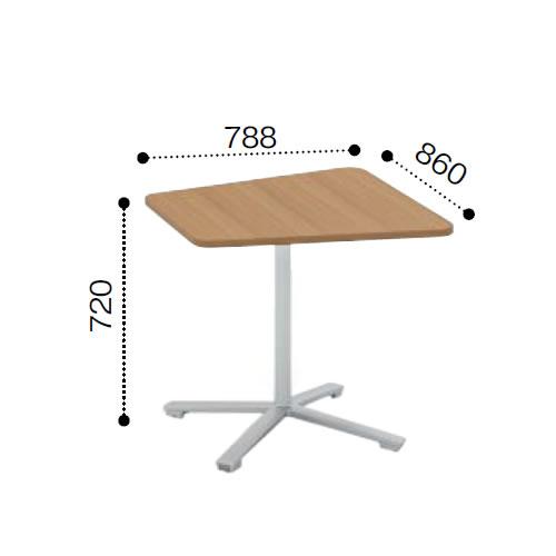 コクヨ VIENAビエナ シリーズ会議 ミーティング テーブル フラップ単柱脚キャスタータイプ 台形天板 塗装脚 幅860奥行788ミリ MT-VD87F