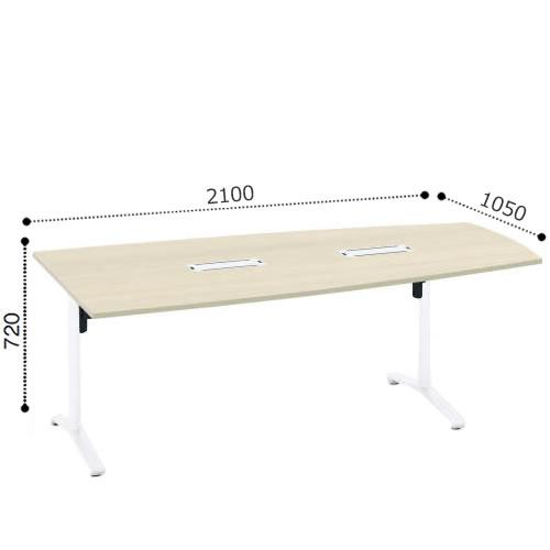 コクヨ VIENAビエナ シリーズ会議 ミーティング テーブル 天板固定T字脚キャスタータイプ ウィング形天板 塗装脚 配線ボックス付 幅2100奥行1050ミリ MT-VT211B-E