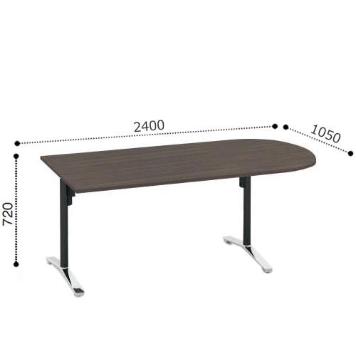 コクヨ VIENAビエナ シリーズ会議 ミーティング テーブル 天板固定T字脚アジャスタータイプ U字形天板 ポリッシュ脚 配線ボックスなし 幅2400奥行1050ミリ MT-VU241P-E