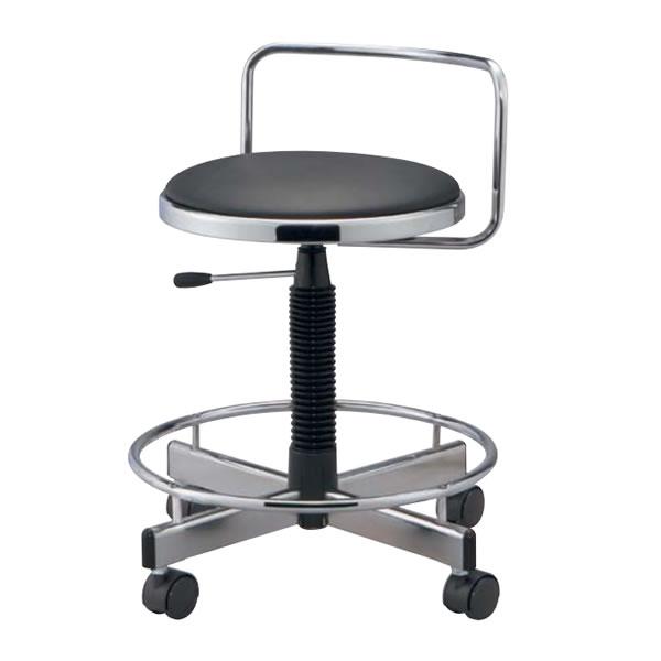 作業用チェアー 作業用チェア 作業椅子 作業用椅子 ガス上下調節 キャスター脚 足掛けリング付き 背付き TD-36LN