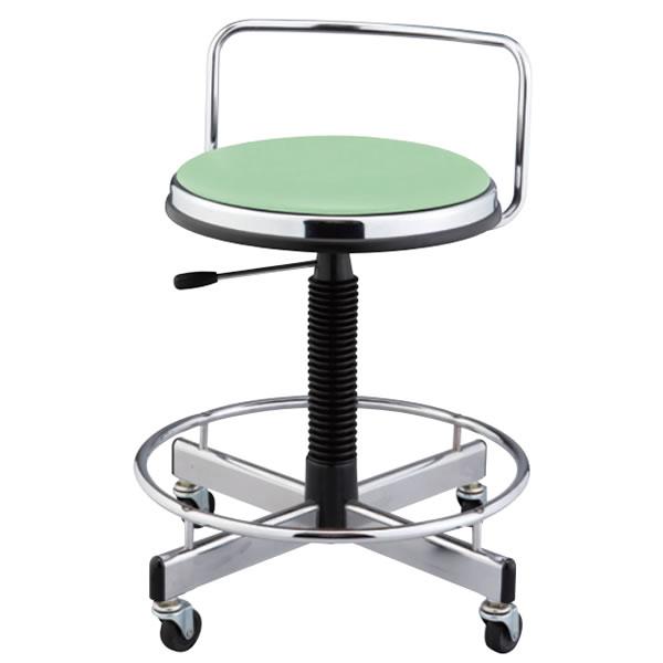 作業椅子 椅子スツール メディカルチェア 患者用チェア キャスター付き ガス上下調節 背付き 足掛けリング付き TD-H16LN