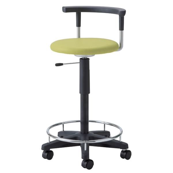 作業椅子 椅子スツール メディカルチェア 耐アルコールスツール ガス上下調節 キャスター付き 足掛けリング付き 背付 TDC-40R
