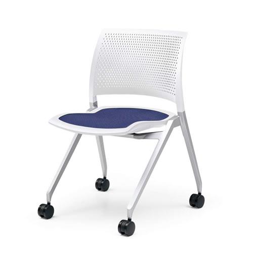 コクヨ ミーティングチェア 会議椅子 会議チェア Spline スプライン キャスター脚(シルバー塗装) 本体カラーホワイトシェル CK-370PAW