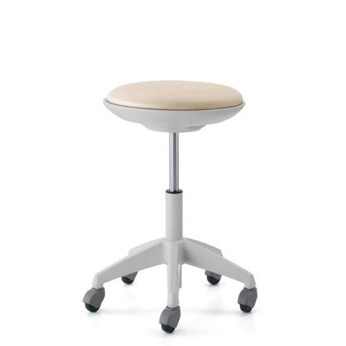 コクヨ 作業用イス 作業椅子 作業用チェア ココット cocotte ハイタイプ スツールタイプ ステップなし ホワイトシェル レザー張り キャスター脚 CR-FG540E1-