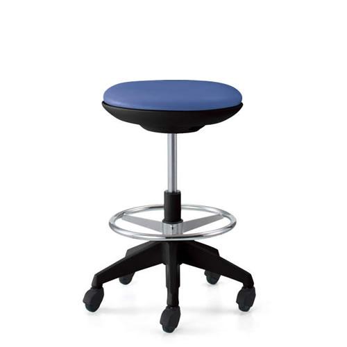 コクヨ 作業用イス 作業椅子 作業用チェア ココット cocotte ハイタイプ スツールタイプ ステップ付き ブラックシェル レザー張り キャスター脚 CR-FGP540E6-