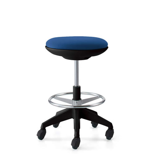 コクヨ 作業用イス 作業椅子 作業用チェア ココット cocotte ハイタイプ スツールタイプ ステップ付き ブラックシェル 布張り キャスター脚 CR-FGP540E6