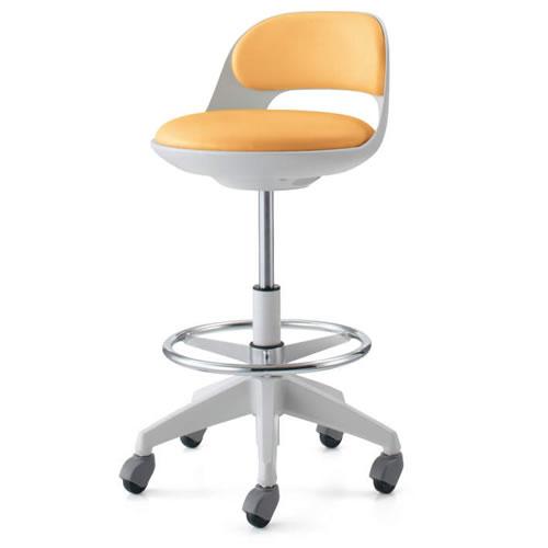 コクヨ 作業用イス 作業椅子 作業用チェア ココット cocotte ハイタイプ サポートシェルタイプ ステップ付き ホワイトシェル レザー張り キャスター脚 CR-FGP542E1-