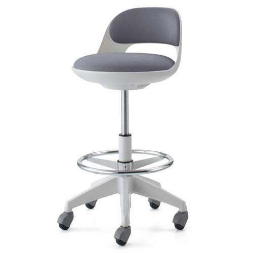 コクヨ 作業用イス 作業椅子 作業用チェア ココット cocotte ハイタイプ サポートシェルタイプ ステップ付き ホワイトシェル 布張り キャスター脚 CR-FGP542E1