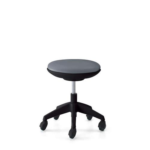 コクヨ 作業用イス 作業椅子 作業用チェア ココット cocotte ロータイプ スツールタイプ ブラックシェル レザー張り キャスター脚 CR-G540E6-
